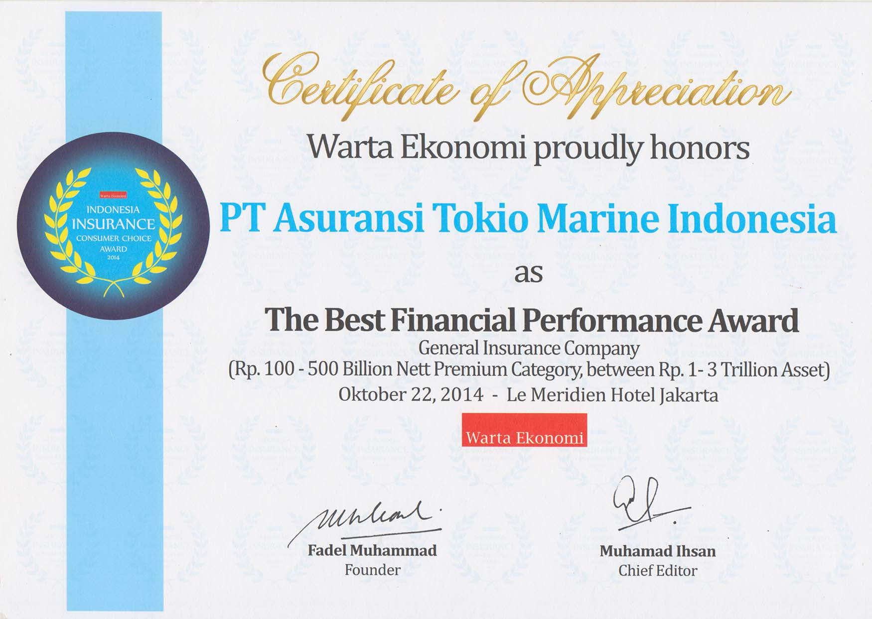 Awards | Tokio Marine Indonesia | An Insurance Company