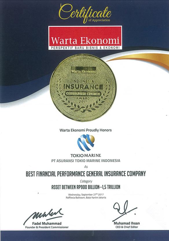 Awards Tokio Marine Indonesia An Insurance Company